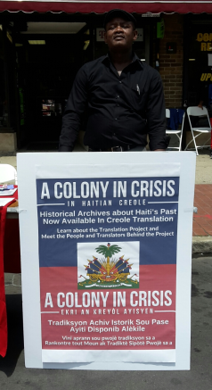 Haitian Creole Translator Pierre Malbranche presenting the project at the 2018 Block Party in Orange, NJ